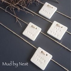 mini square clay tags - just because {set 4}