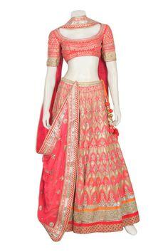 bridal wear lehenga in peach color