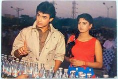 Aamir Khan and Juhi Chawla Juhi Chawla, Aamir Khan, Famous Couples, Indian Movies, Bollywood Actors, Actors & Actresses, Nostalgia, Cinema, Celebrities