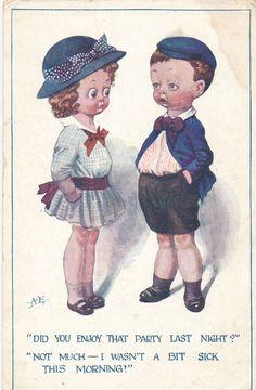 POSTCARD CHILDREN Did you enjoy that party last night ?..... | eBay