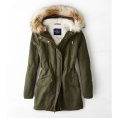 American Eagle Hooded Parka (160 CAD) ❤ liked on Polyvore featuring outerwear, coats, jackets, tops, green, hooded coats, green hooded parka, brown parka, brown coat and faux fur trim hooded coat