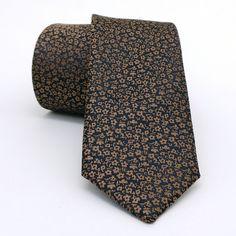 """Brown, dark brow dotted men's tie 6 cm (2,36"""") DK-153. Brown dotted men's necktie DK-153 Width : 6 cm (2,36"""") Length : 150 cm (59,06"""")."""