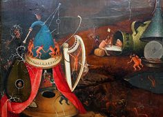 Hieronymus Bosch – born Jheronimus van Aken The Last Judgment, triptych oil on wood, central panel, detail. Hieronymus Bosch, The Last Judgment, Abstract Drawings, Abstract Paintings, Macabre Art, Renaissance Paintings, Dutch Painters, Medieval Art, Fantastic Art
