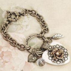 Sweet Romance™ French Dream Verse Bracelet - white jewelry - heart bracelet #white #ivory #neutral #blush #nude #beige
