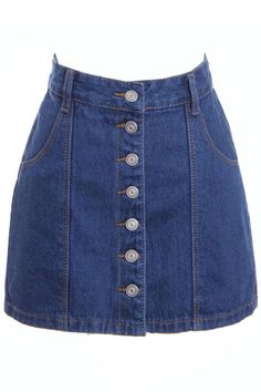 Buttoned Blue Denim Bodycon Skirt  #ROMWE