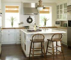 Traditional U-shaped White kitchen, white cabinets, Phoebe Howard,