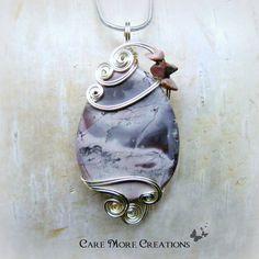 Lavender Porcelain Exotica Jasper Wire Wrapped Pendant Necklace by CareMoreCreations.com, $57.00