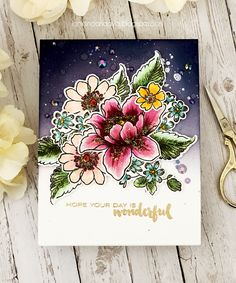Altenew: Floral Garden, Garden Treasure, flower sketch, Chipped Sapphire and Seedless Preserves,  , gold heat embossed the sentiment (Floral Garden), Papel with love,