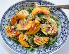Grilled peach and halloumi salad from Scandi Foodie is quick and easy salad recipe with fresh sweet peaches and salty halloumi cheese
