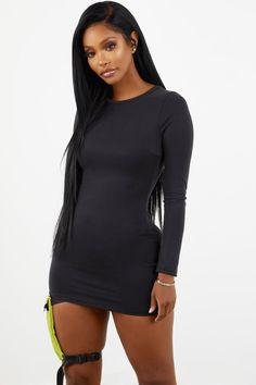 297d38ea9a4b46 Sorella Long Sleeve Cupro Dress - Black