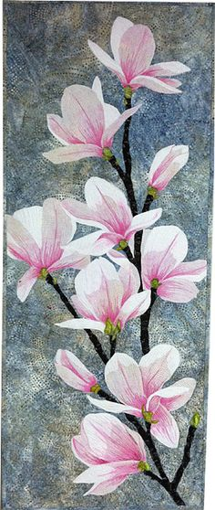 Magnolias - quilt art by Kate Themel, Artist - Gallery Sicis Mosaic, Landscape Art Quilts, Flower Quilts, Thread Painting, Artist Gallery, Applique Quilts, Drawing, Fabric Art, Quilting Designs