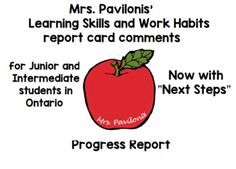 Primary Ontario Learning Skills Report Card Comments Next Steps Progress Report Learning Skills, Skills To Learn, Report Card Comments, Intermediate Grades, Microsoft Word Document, Parent Communication, Progress Report, Self Assessment, Teacher Newsletter