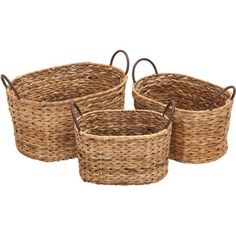 """3 Piece Kingman Basket Set: Bring a touch of style and flair to your d�cor with this eye-catching accent, an enviable addition to your well-appointed home.Product:  Small, medium and large basket Construction Material: Wicker and metal   Color: Natural      Dimensions:  Small: 9"""" H x 11"""" W x 8"""" D  Medium: 9"""" H x 13"""" W x 10"""" D  Large: 10"""" H x 16"""" W x 11"""" D"""