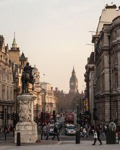 View down Whitehall, Trafalgar Square,  London, England