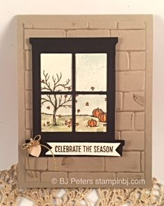 Happy Scenes, Into the Woods elements, HOliday catalog, Halloween, Fall… Fall Cards, Holiday Cards, Christmas Cards, Window Cards, Stampinup, Making Greeting Cards, Stamping Up Cards, Thanksgiving Cards, Scrapbook Cards