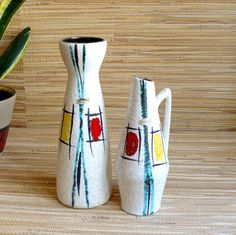 "Art - danismm: ""Pair of Vases - Ceramic - Scheurich - Mid Century Vintage Atomic 1950s - Diabolo - German Pottery GDR"""