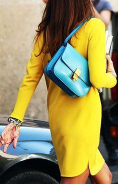 Colorblock Yellow Spring Silk Dress