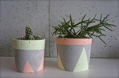 Doniczka betonowa / z betonu mała pastelowa - GrowRaw - Dekoracje