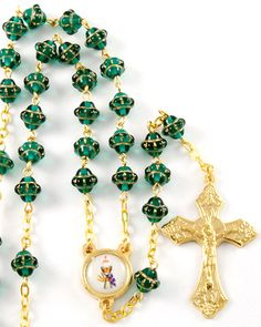 "Rosary Beads, Chalice and Grapes Italian Rosary, 6mm Medieval glass beads. This rosary has an inner circular length of approx. 28"", so it may also be worn !! Imported from Italy. FREE SHIPPING on orders over $25 !!"