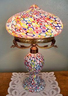 Murano Art Glass Millefiori Lamp 12 H Crystal Amp Glass