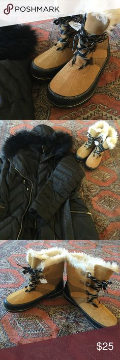 NWT fuzzy snow boots weather proof leather fur 11 New with tags, no box. Very sturdy shoes and stylish. Seasonally priced for quick sale! Merona Shoes Winter & Rain Boots