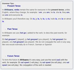 This page contains a course in Afrikaans Verbs in the present past and future tense as well as a list of other lessons in grammar topics and common expressions in Afrikaans. Languages Of South Africa, Afrikaans Language, Napoleon Hill Quotes, Grammar Tips, Remain The Same, Kids Education, Success Quotes, Mathematics, Homework