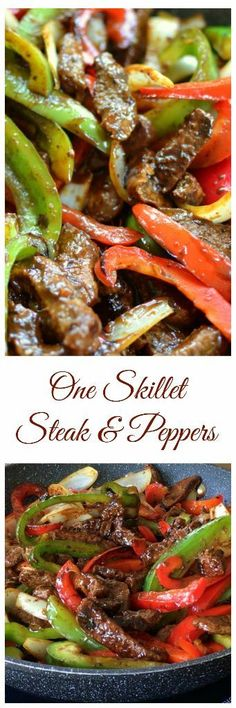 It was pretty good but we need to double the recipe. This beautiful One Skillet Steak and Peppers has so much flavor. It is packed full of juicy steak, tender crisp onions and bell peppers in a lightly sweet Hoisin ginger mustard sauce that is amazing. Skillet Steak, One Skillet Meals, One Pot Meals, Oven Steak, Electric Skillet Recipes, Healthy Meals, Healthy Recipes, Cast Iron Recipes, Juicy Steak