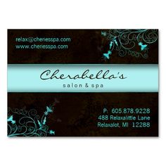 Salon Flower Elegant Turquoise Appointment Card Business Card Template. Make your own business card with this great design. All you need is to add your info to this template. Click the image to try it out!