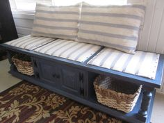 70's coffee table re-purposed into a distressed country blue storage bench