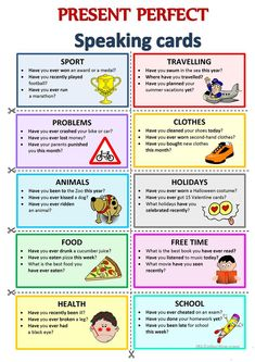 PERFECT - Speaking cards worksheet - Free ESL printable worksheets made by teachers English Teaching Materials, Learning English For Kids, Kids English, English Language Learning, English Lessons, Teaching English, Learn English, Improve English, French Lessons