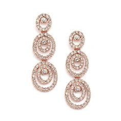 Triple Drop Oval Wedding Earrings with Cubic Zirconia, Available in 3 Finishes