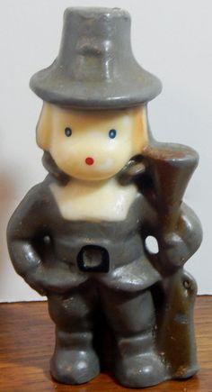 Vintage Gurley Candle Pilgrim Boy Thanksgiving by OffbeatAvenue