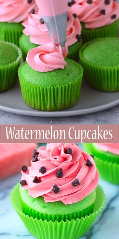 Make these fun summer watermelon cupcakes! Bright green cupcakes with buttercream frosting that tastes like watermelon! Add mini chocolate chips for the watermelon seeds! Serve these cupcakes at a one in a melon themed party! Green Cupcakes, Strawberry Cupcakes, Strawberry Buttercream, Lemon Cupcakes, Summer Cupcakes, Velvet Cupcakes, Fluffy Cupcakes, Fish Cupcakes, Cute Cupcakes