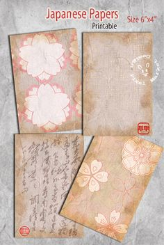 JAPANESE PAPERS Set Digital Collage Sheet Printable by pixelmarket, €3.90
