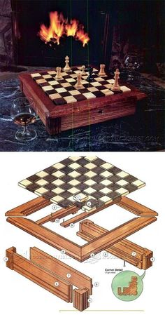 Chess Board Plans - Woodworking Plans and Projects | WoodArchivist.com #WoodworkPlans
