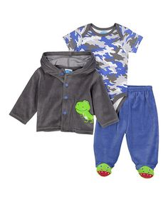 Look what I found on #zulily! Blue & Gray Camouflage Bodysuit & Pants Set - Infant #zulilyfinds