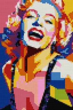 Marilyn Monroe Mosaic Wpap Style Portrait cm) / Pixel Wall Art / Creative Gift — Make a mosaic from a picture Lego Portrait, Mosaic Portrait, Portrait Art, Minecraft Pixel Art, Minecraft Crafts, Minecraft Skins, Minecraft Houses, Minecraft Crochet, Minecraft Bedroom