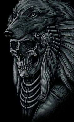 ~~~Native Indian ~~~ Wolf and Feather Head Dress  'Possible Metaphor'  The Skull indicates the death of a Native Indian, that wore this Head Dress once upon a time.