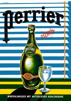 Perrier by Villemot 1968 France - Beautiful Vintage Poster Reproduction. This vertical french culinary / food poster features a green bottle next to a glass of water in front of horizontal blinds. Vintage Advertising Posters, Old Advertisements, Art Deco Posters, Advertising Signs, Vintage Travel Posters, Pub Vintage, Vintage Labels, Vintage Food, French Vintage