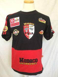 Monaco Grand Prix F1 Mens Tshirt Sz Large Black Red Racing Patches Short Sleeves | eBay
