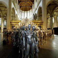 An installation by Dutch fashion designer Mart Visser is pictured at the Nieuwe Kerk exhibition hall in Amsterdam