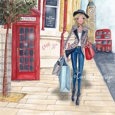 Shopping In London Painting by Caroline Bonne-Muller London Painting, Images Vintage, Woman Illustration, London Illustration, Illustration Fashion, Paris Mode, Fashion Art, Fashion Design, Fashion Sketches