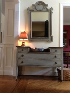 Mahogany vanity painted with Annie Sloan Chalk Paint. Paris Gray with wash of French Linen