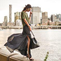 http://lookbook.nu/look/7267732-Olive-Slant-Hem-Tee-High-Waist-Slit-Pants-Black