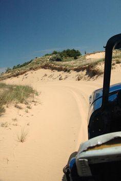 riding the sand dunes in Saugatuck, Michigan