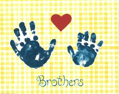 Navy Nursery room decor, yellow gingham children's wall art, Kids Wall Art Print, baby boy room art, Brotherly Love.