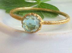 HOLIDAY SALE!!! Blue Topaz Ring - Bezel Ring - London Blue Topaz Ring - Gemstone Ring- Gold Ring - December Birthstone on Etsy, $29.31