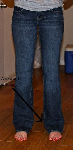 """How to turn your """"awkward and baggy"""" jeans into skinny jeans. Perfect for those jeans that have become too short...turn them into skinny jeans and stuff them in boots!"""