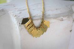 Cleo- vintage brass diamond fringed necklace by ALittleDot