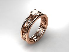Royal Filigree Ring With White sapphire and Diamonds